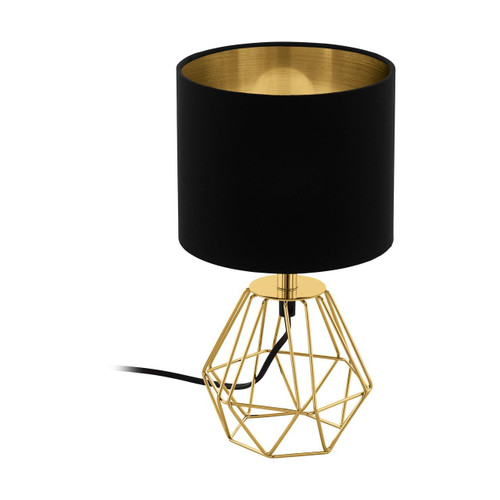 Eglo Lighting Carlton 2 Brass with Black and Gold Fabric Shade Table Lamp