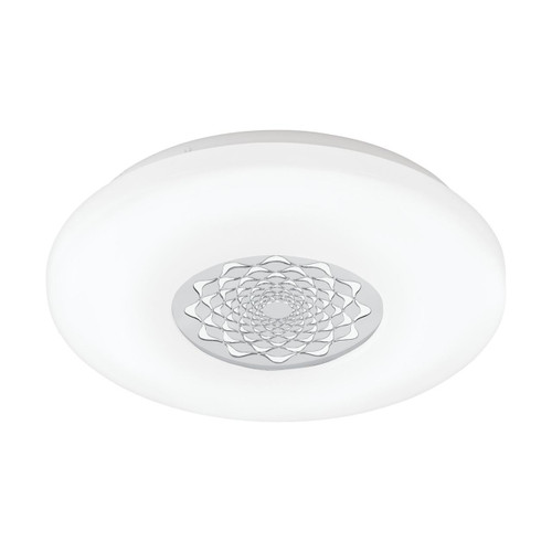 Eglo Lighting Capasso 340 White with White and Chrome Glitter Shade Wall and Ceiling Light