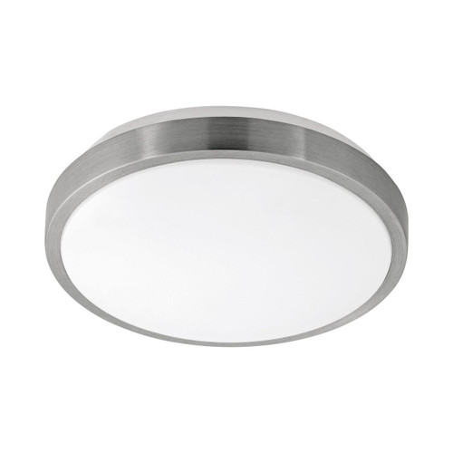 Eglo Lighting Competa 1 245 White with Satin Nickel and White Shade Wall and Ceiling Light
