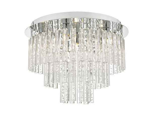 Paulita 5 Light Polished Chrome and Clear Glass IP44 Bathroom Ceiling Light