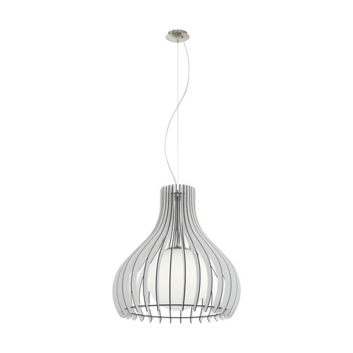 Eglo Lighting Tindori 500 Satin Nickel with White Wood and Glass Shade Pendant Light