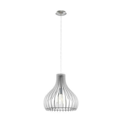 Eglo Lighting Tindori Satin Nickel with White Wood Shade Pendant Light