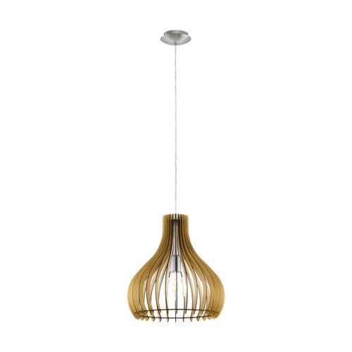 Eglo Lighting Tindori Satin Nickel with Maple Shade Pendant Light