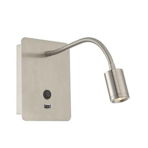 Raoul Adjustable Satin Nickel LED Bedhead Reading Wall Light
