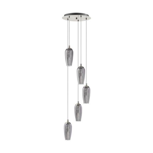 Eglo Lighting Farsala 5 Light Round Satin Nickel with Smoked Glass and Granilla Shade Pendant Light
