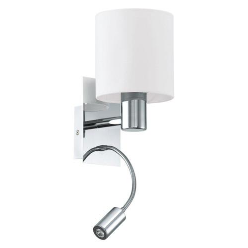 Eglo Lighting Halva Chrome with Beige Fabric Shade Wall Light