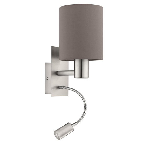 Eglo Lighting Pasteri Satin Nickel with Anthracite Fabric Shade Wall Light