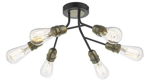 Remy 6 Light Black and Antique Brass Semi Flush Ceiling Light