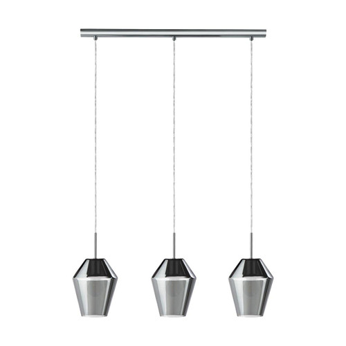 Eglo Lighting Murmillo 3 Light Chrome with Smoked Glass Shade Bar Pendant Light