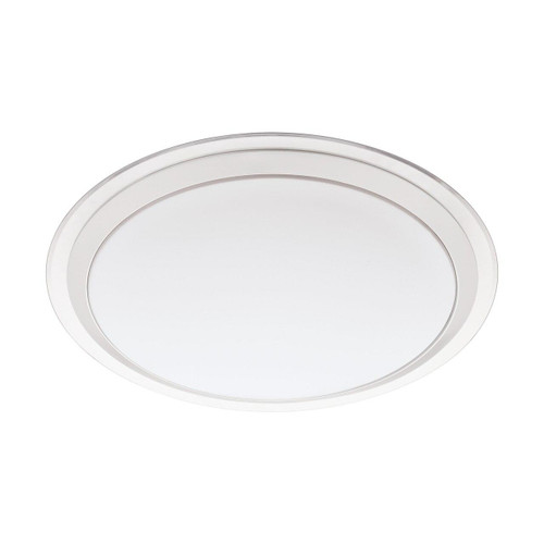 Eglo Lighting Competa-C White with Clear White and Silver Shade Wall and Ceiling Light