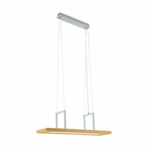 Eglo Lighting Tondela White with Brown Wood Bar Pendant Light