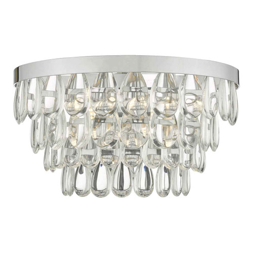 Sceptre 2 Light Clear Glass And Polished Chrome Wall Light