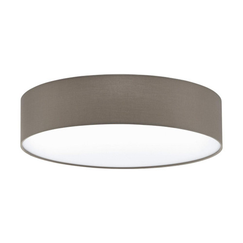 Eglo Lighting Pasteri 570 3 Light White with Taupe Fabric Shade Ceiling Light