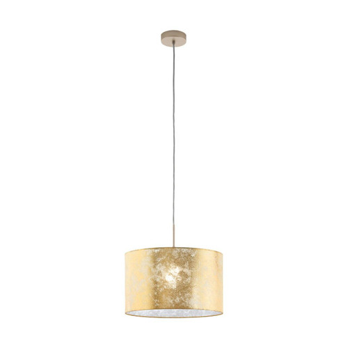 Eglo Lighting Viserbella Champagne with Gold Fabric Shade Pendant Light