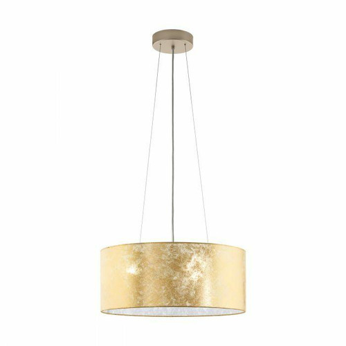 Eglo Lighting Viserbella 3 Light Champagne with Gold Fabric Shade Pendant Light