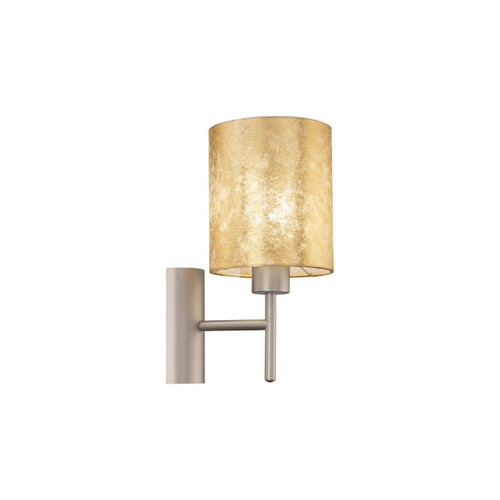Eglo Lighting Viserbella Champagne with Gold Fabric Shade Wall Light