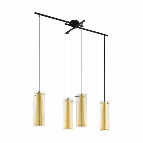 Eglo Lighting Pinto 4 Light Gold Black with Clear and Gold Glass Bar Pendant Light