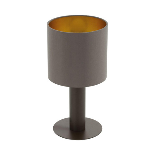 Eglo Lighting Concessa 1 Dark Brown with Cappuccino and Gold Fabric Shade Table Lamp