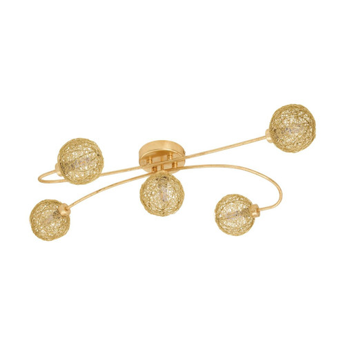 Eglo Lighting Caris 1 5 Light Gold Coloured with Gold Shade Ceiling Light