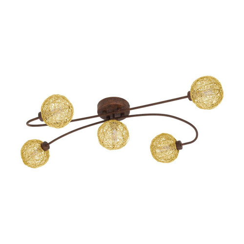 Eglo Lighting Caris 1 5 Light Rust Coloured with Gold Shade Ceiling Light