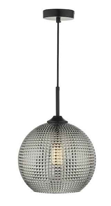 Soren 1 Light Black And Smoked Textured Glass Pendant Light