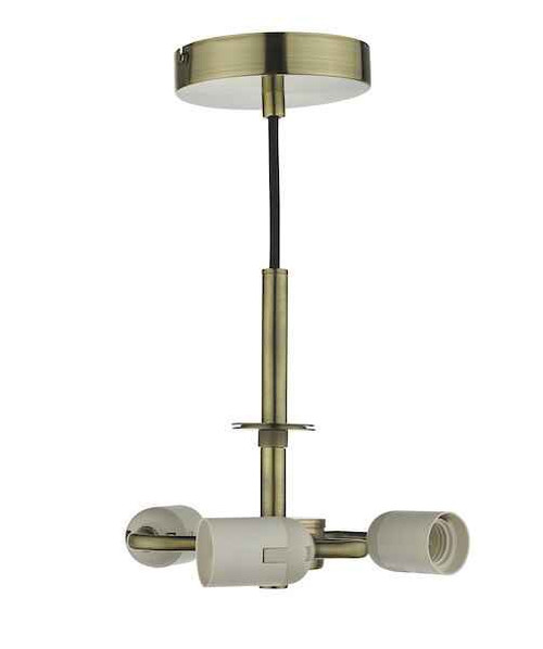 Accessory 3 Light Antique Brass Pendant Light Suspension
