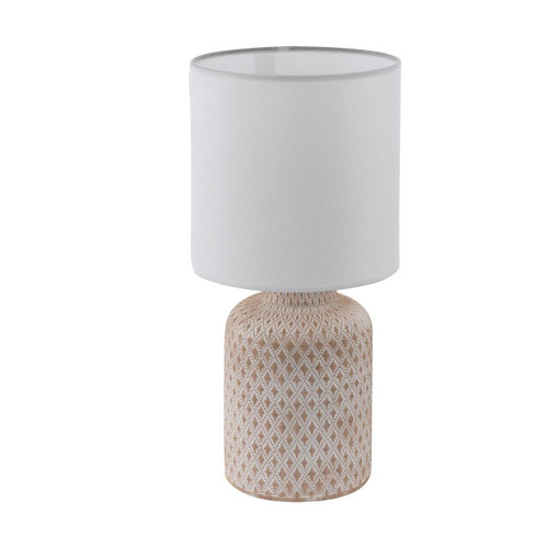 Eglo Lighting Bellariva Creme White Ceramic with White Fabric Shade Table Lamp
