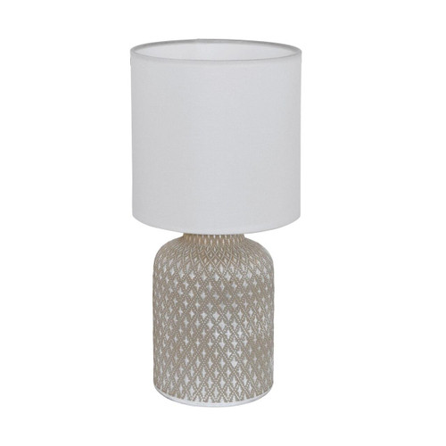 Eglo Lighting Bellariva Light Grey Ceramic with White Fabric Shade Table Lamp