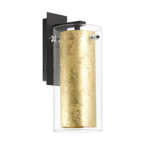 Eglo Lighting Pinto Gold Black with Clear Gold Glass Wall Light