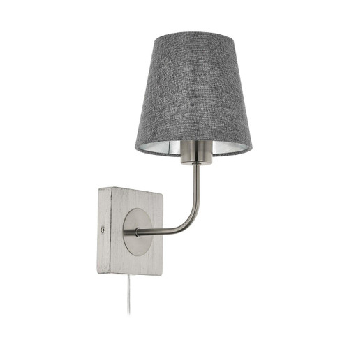 Eglo Lighting Pausia Satin Nickel and White Patina with Grey Linen Fabric Shade Wall Light
