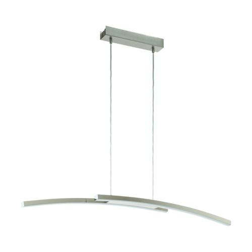 Eglo Lighting Fraioli-C 2 Light Satin Nickel with White Plastic Shade Curved Bar Pendant Light