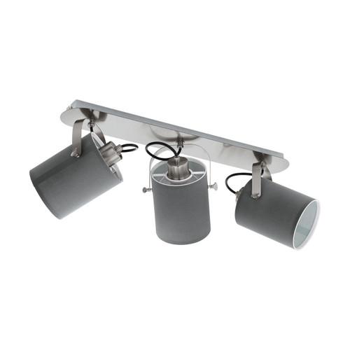 Eglo Lighting Villabate 3 Light Satin Nickel with grey Fabric Shade Spotlight