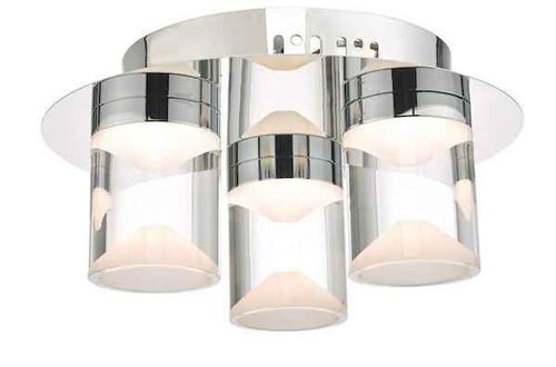 Susa 3 Light Polished Chrome and Acrylic LED Bathroom IP44 Flush Ceiling Light