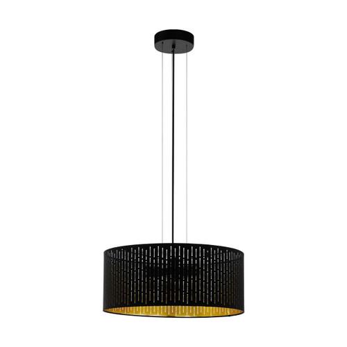 Eglo Lighting Varillas 3 Light Black with Black and Gold Fabric Shade Pendant Light