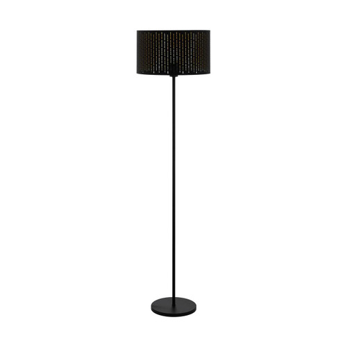 Eglo Lighting Varillas Black with Black and Gold Fabric Shade Floor Lamp