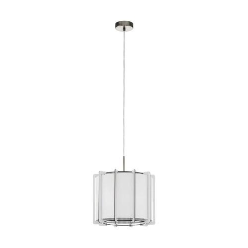 Eglo Lighting Pineta 330 Satin Nickel with White Wood Shade Pendant Light