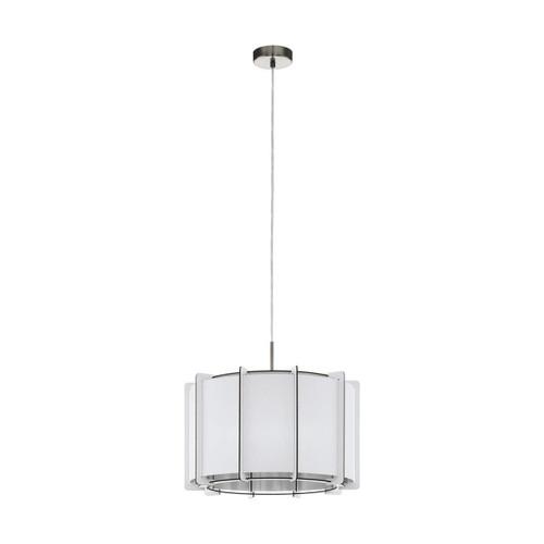 Eglo Lighting Pineta 430 Satin Nickel with White Wood Shade Pendant Light