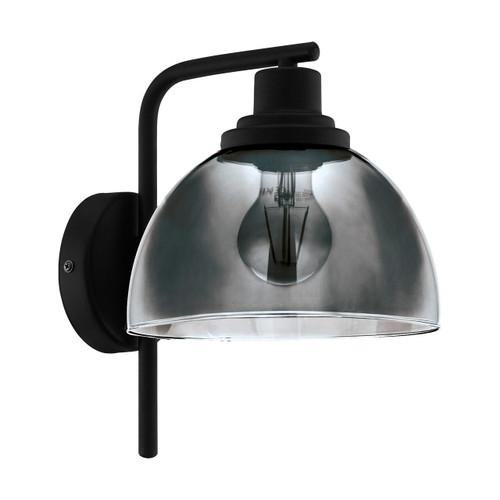 Eglo Lighting Beleser Black with Black Vaporized Glass Shade Wall Light