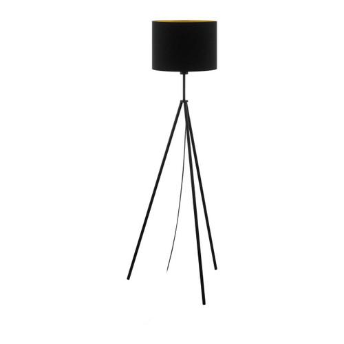 Eglo Lighting Scigliati Black with Black and Gold Fabric Shade Floor Lamp