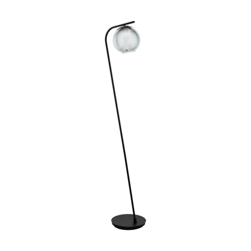 Eglo Lighting Terriente Black with Black Vaporized Glass Shade Floor Lamp