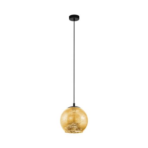 Eglo Lighting Albaraccin 270 Black with Gold Coloured Glass Shade Pendant Light