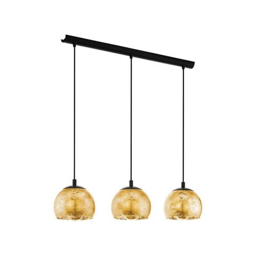 Eglo Lighting Albaraccin 3 Light Black with Gold Coloured Glass Shade Bar Pendant Light
