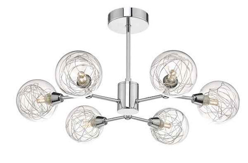 Tyka 6 Light Polished Chrome & Glass Semi Flush Pendant Light
