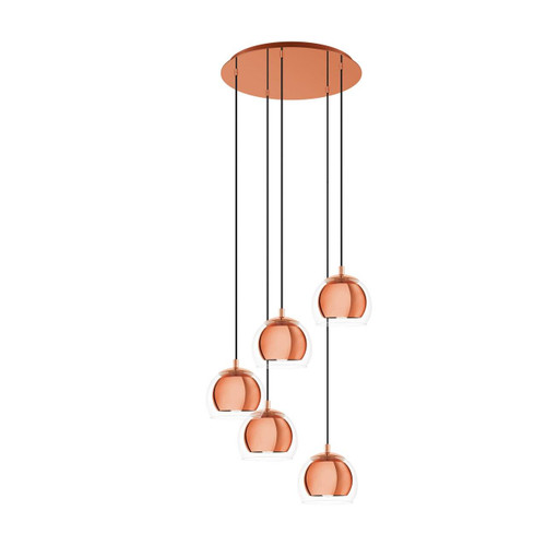 Eglo Lighting Rocamar 1 5 Light Copper with Clear Glass Cluster Pendant Light