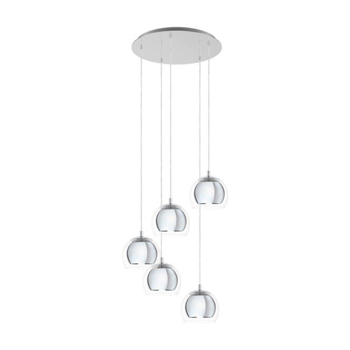 Eglo Lighting Rocamar 1 5 Light Chrome with Clear Glass Cluster Pendant Light