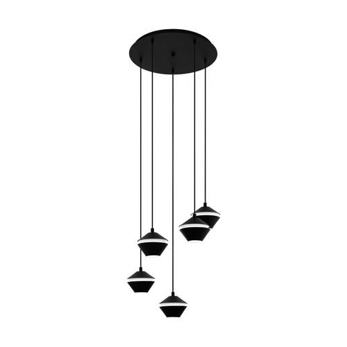 Eglo Lighting Perpigo 5 Light Black with Black and White Shade Cluster Pendant Light