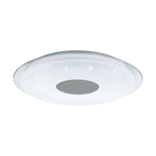 Eglo Lighting Lanciano-C 560 White with White and Chrome Crystal Effect Plastic Shade Wall and Ceiling Light