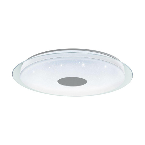 Eglo Lighting Lanciano-C 770 White with White and Chrome Crystal Effect Plastic Shade Wall and Ceiling Light