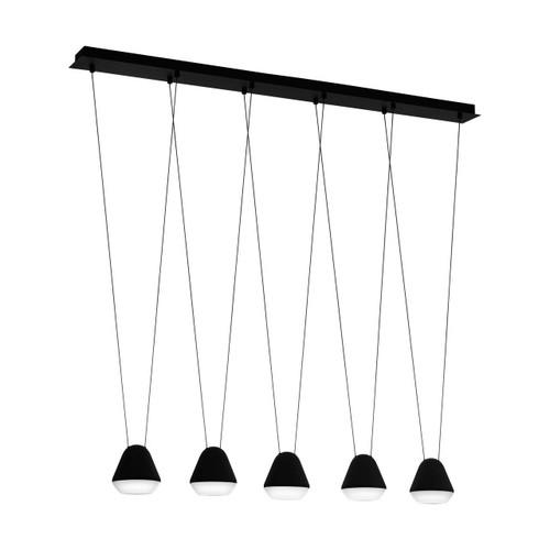 Eglo Lighting Palbieta 5 Light Black with Black and Satined Shade Bar Pendant Light