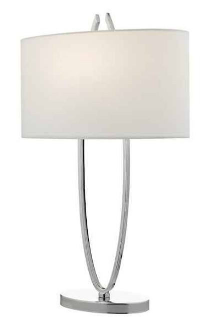 Utara Polished Chrome With Ivory Faux Silk Shade Table Lamp
